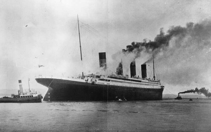 The luxury White Star liner 'Titanic', which sank on its maiden voyage to America in 1912, seen here on trials in Belfast Lough.