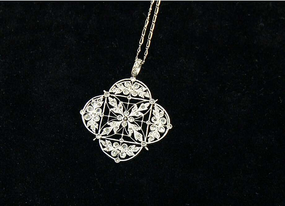 This platinum and diamond necklace was recovered from the Titanic. Photo: Johnny Clark, Associated Press