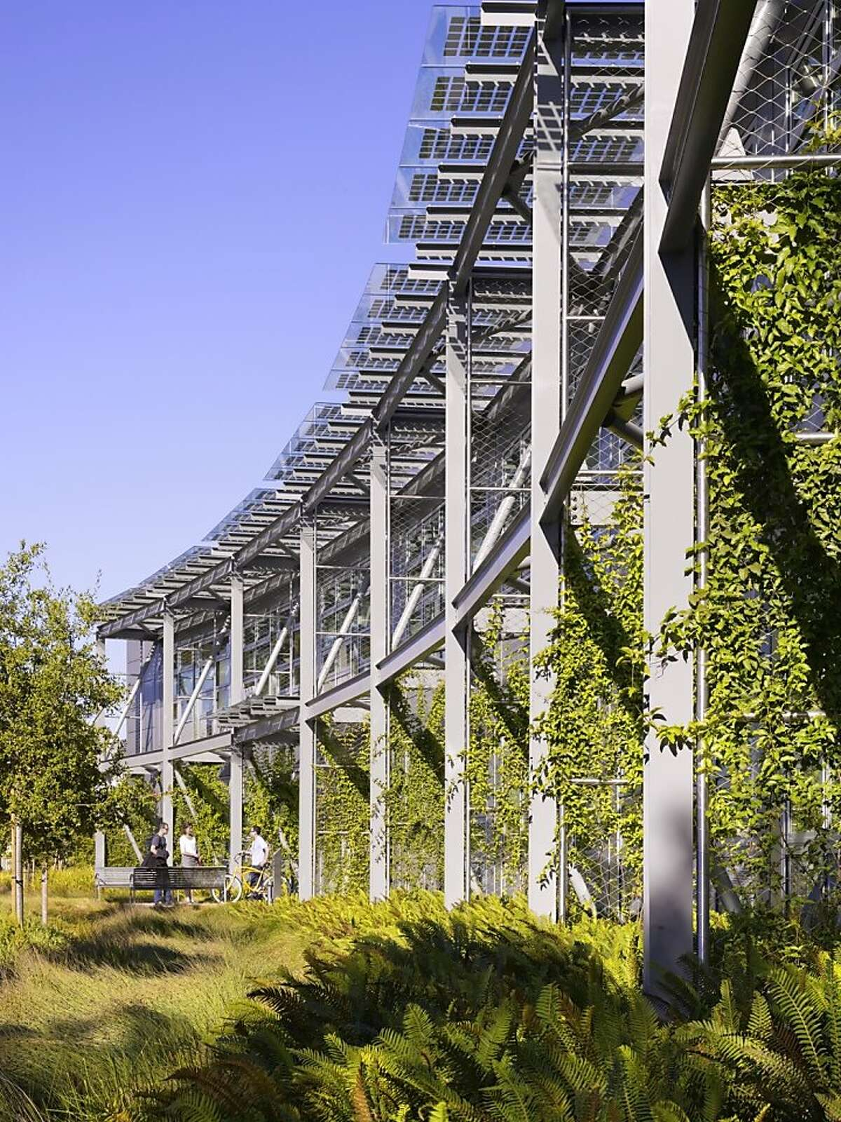 The new NASA Ames Research Center at Moffett Field, dubbed Sustainability Base, was designed by William McDonough + Partners. It includes natural ventilation and extensive use of recycled water