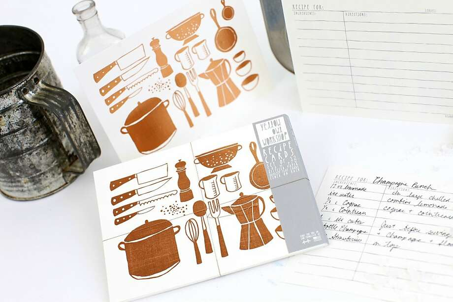 "Copper foil recipe cards from Yellow Owl Workshop. Each set contains 12 lined recipe cards on 5x7"" (12x18 cm) heavy card stock. $14.00. Photo: Yellow Owl Workshop, Agency"