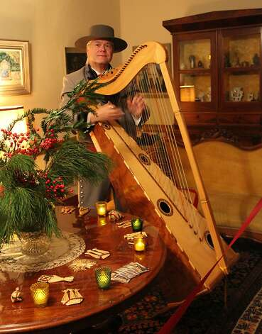 Performances by Jalisco harp player William Faulkner are a highlight of Christmas in the Adobes at Casa Soberanes, whose former owners were known in the mid-19th century for providing music at Monterey gatherings. Photo: Cindy Ewing, California State Parks
