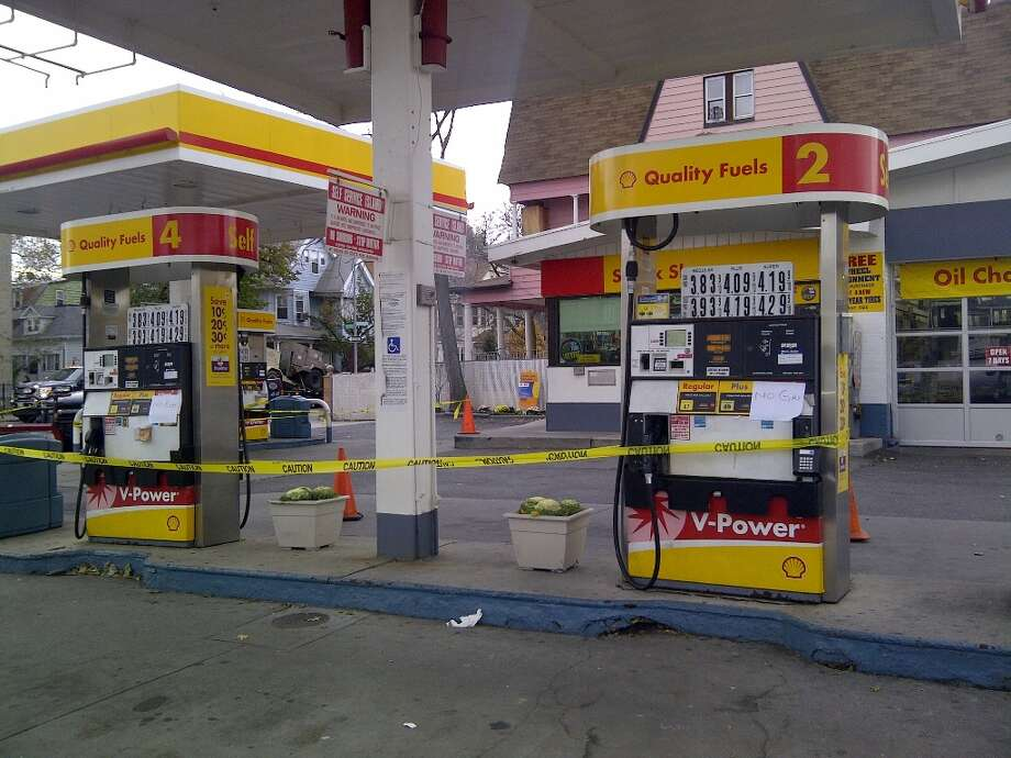 A gas station in Brooklyn was closed on Friday Nov 2. due to gas shortage throughout the area.  (Jana Kasperkevic / Houston Chronicle)