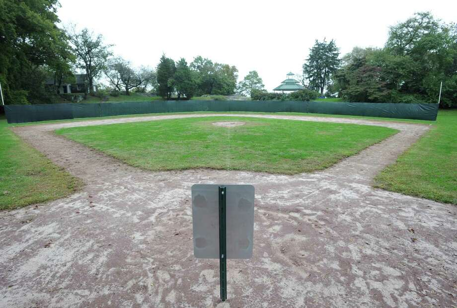 The view from home plate of the trial Wiffle ball field at Byram Park, Thursday afternoon, Oct. 4, 2012. Photo: Bob Luckey / Greenwich Time