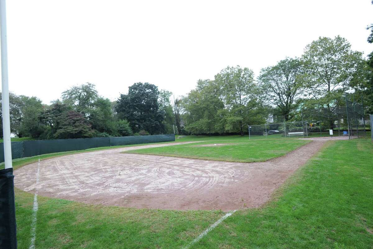 The view from the left-field foul pole of the trial Wiffle ball field at Byram Park, Thursday afternoon, Oct. 4, 2012.