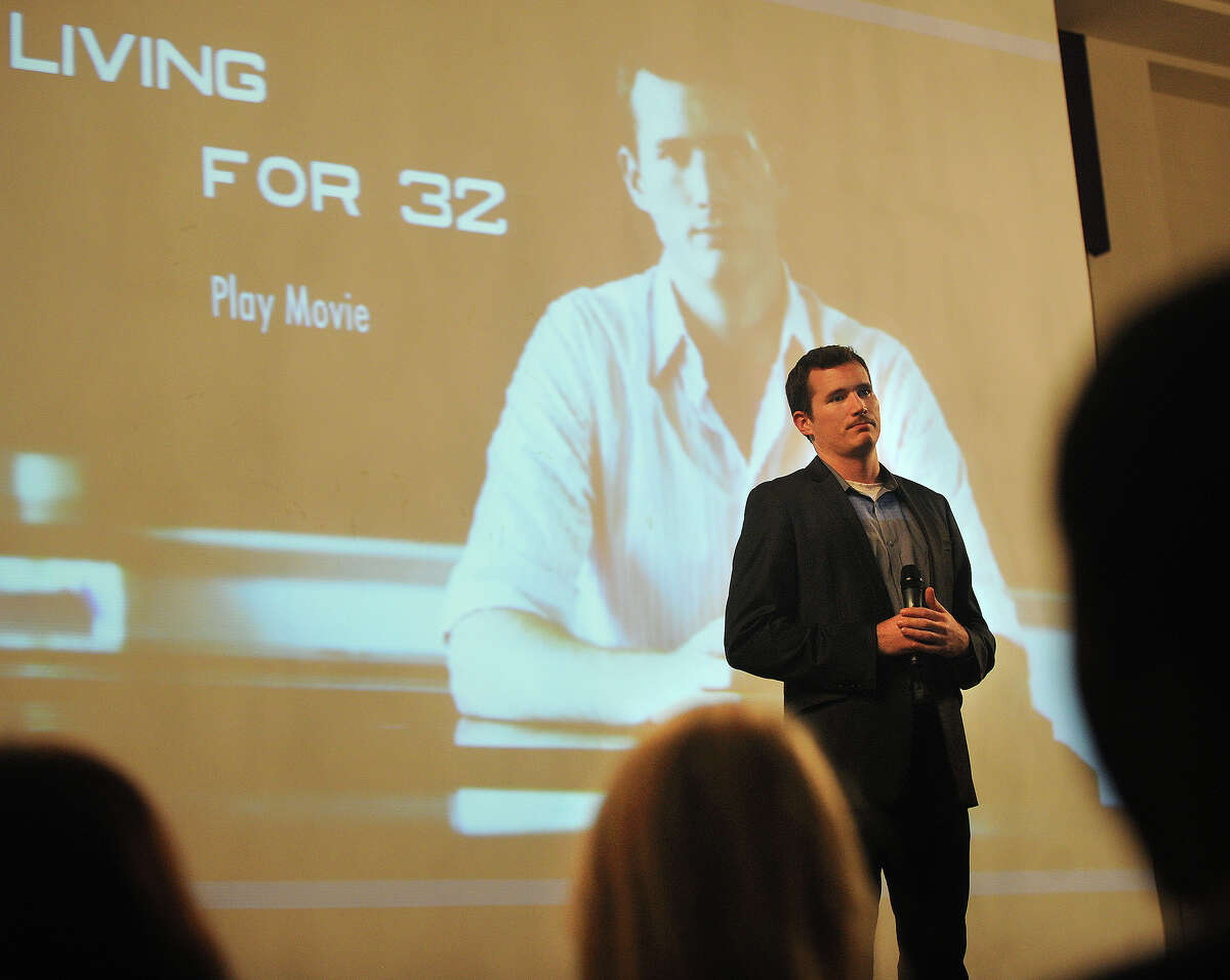 Colin Goddard, survivor of the April 16, 2007 shooting the killed 32 people at Virginia Tech University, discusses the documentary, Living for 32, at the University of Bridgeport on Monday, November 12, 2012. Goddard was shot four times in the incident.