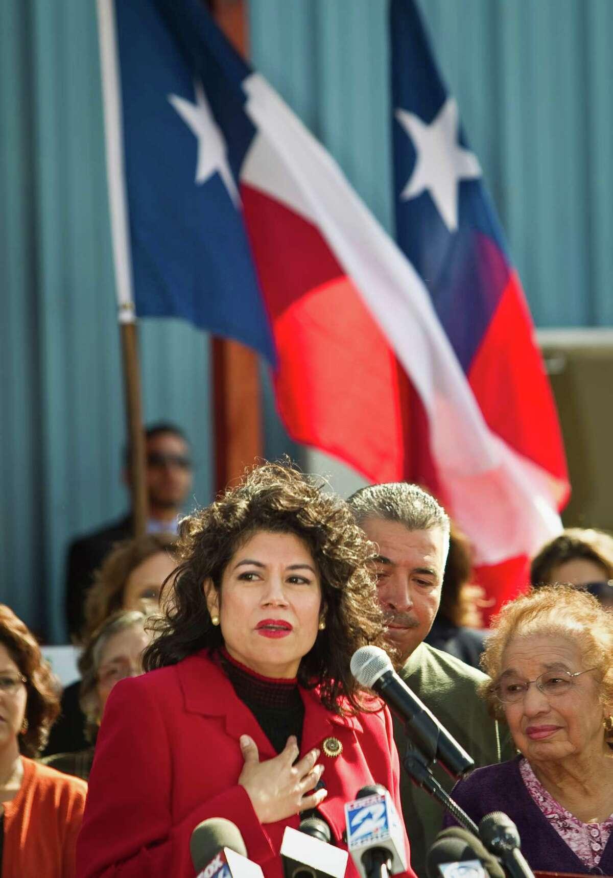 Carol Alvarado, announces her intent to run for the late Sen. Mario Gallegos' State Senate seat six, Monday, Nov. 12, 2012, in Houston. The senate seat came open when Sen. Mario Gallegos passed away.