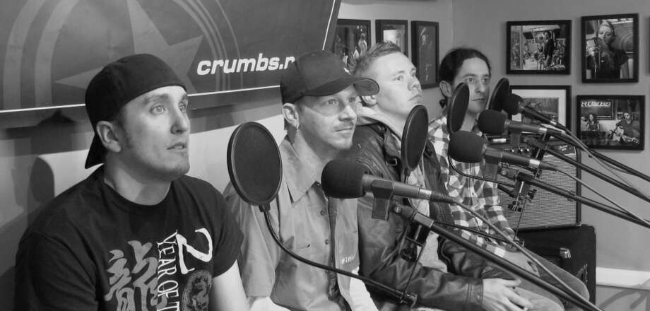 Above The Flood lined up for the interview with CRUMBS Cafe host Mike Guzzo and cohost Andrew Gregory (Andrew Gregory)