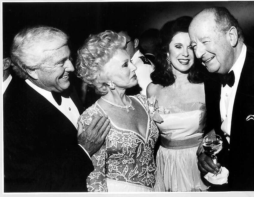 Merv Griffin (left), Eva Gabor, Ann Moller and Herb Caen at the Fairmont's Venetian Room in 1991.