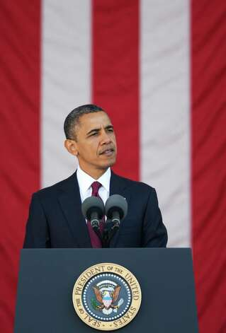 President Barack Obama speaks at the annual Veterans Day commemoration at Arlington National Cemetery in Arlington, Va., Sunday, Nov. 11, 2012. (AP Photo) Photo: Manuel Balce Ceneta, Associated Press / AP