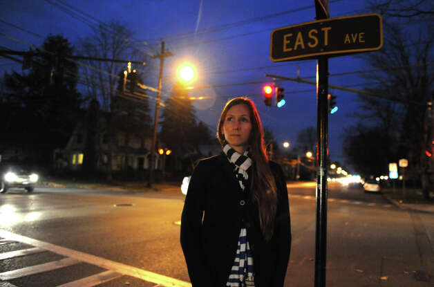 Jenny Witte, author of the popular MamaToga blog, stands on a corner of the intersection where an alleged violent rape took place on September 1 on Monday, Nov. 12, 2012 in Saratoga Springs, N.Y.  (Lori Van Buren / Times Union) Photo: Lori Van Buren