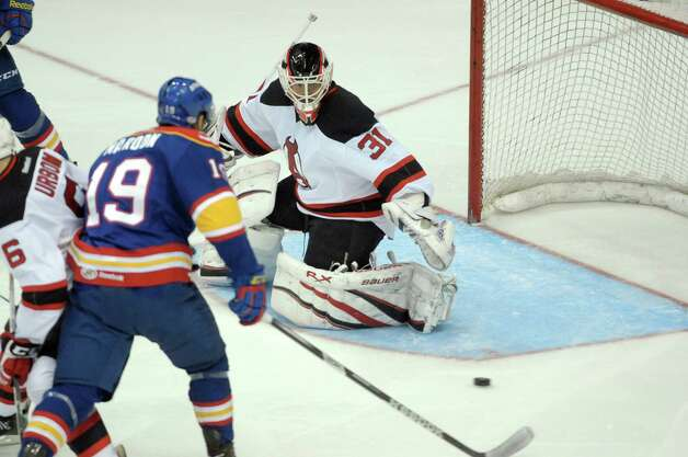 Jeff Frazee, goaltender of the Albany Devils moves to make a save on a shot by a player with the Norfolk Admirals during their hockey game at the Times Union Center on Monday, Nov. 12, 2012 in Albany, NY.   (Paul Buckowski / Times Union) Photo: Paul Buckowski