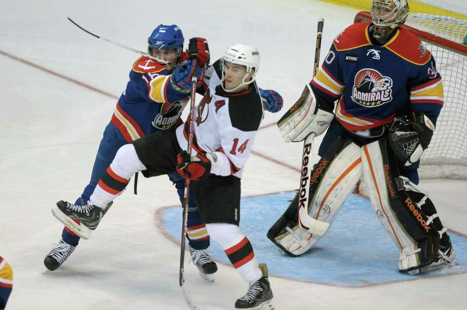 Chris Wagner, left, of the Norfolk Admirals and 