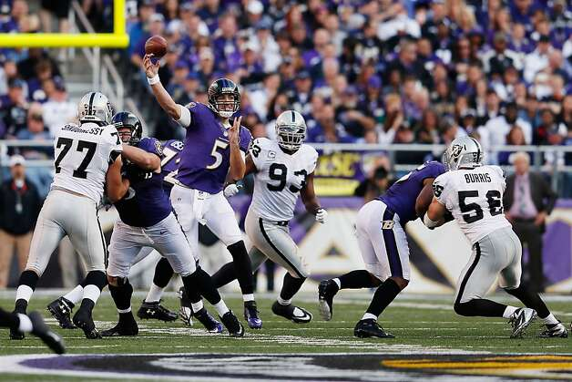 The Raiders were determined to shut down the Ravens' run game, and the result was quarterback Joe Flacco passing for 341 yards and three touchdowns. Photo: Rob Carr, Getty Images