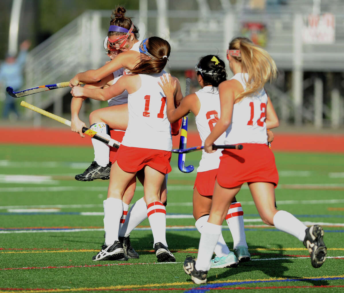 Niskayuna players celebrate after they score a goal during a section 2 Class A regional field hockey game against Suffern on Monday, Nov. 12, 2012 in Schuylerville, N.Y. (Lori Van Buren / Times Union)