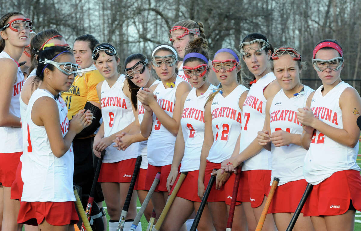Niskayuna players line up before a section 2 Class A regional field hockey game against Suffern on Monday, Nov. 12, 2012 in Schuylerville, N.Y. (Lori Van Buren / Times Union)