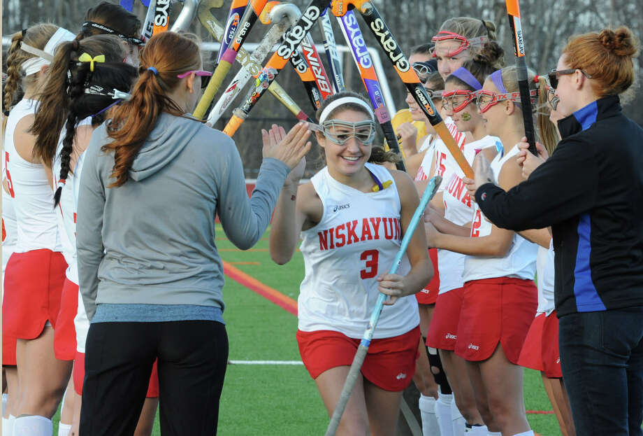 Niskayuna's Gabrielle Litz has her name announced with the rest of her teammates before a section 2 Class A regional field hockey game against Suffern on Monday, Nov. 12, 2012 in Schuylerville, N.Y.  (Lori Van Buren / Times Union) Photo: Lori Van Buren