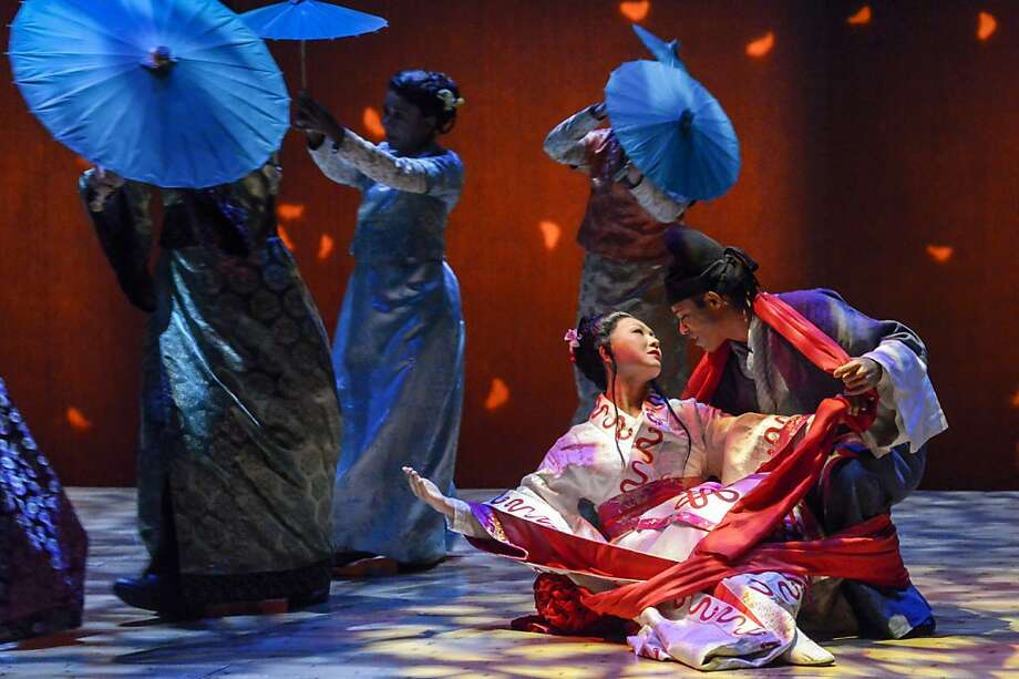 """A White Snake spirit (Amy Kim Waschke, left) falls in love with a mortal, Xu Xian (Christopher Livingston) in Mary Zimmerman's """"The White Snake"""" at Berkeley Rep Photo: Alessandra Mello, Mellopix.com"""
