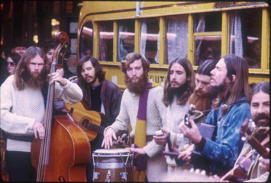 All you beard farmers in Ballard, take note. That stuff on your face is a sad replica of real hirsute glory, seen in these 1972 musicians at the Pike Place Market. Look closely at the faces. No irony, no smugness. Just hair. And sweaters. And forget the Prius; you can't beat the yellow school bus for being cool. Photo: Seattle Municipal Archives