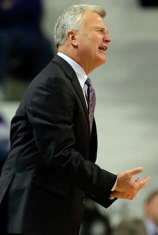 Kansas State coach Bruce Weber reacts to a foul call during the first half of an NCAA college basketball game against Lamar, Monday, Nov. 12, 2012, in Manhattan, Kan. (AP Photo/Charlie Riedel) Photo: Charlie Riedel, STF / AP