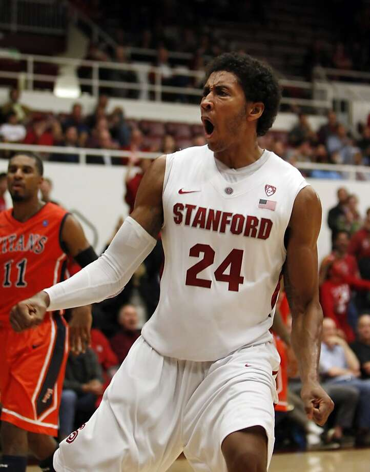 Josh Huestis reacts after his slam dunk in the second period. The Stanford men's basketball team played the Fullerton Titans at Maples Pavilion in Stanford, Calif., on Monday, November 12, 2012. Stanford won 81-68 Photo: Carlos Avila Gonzalez, The Chronicle