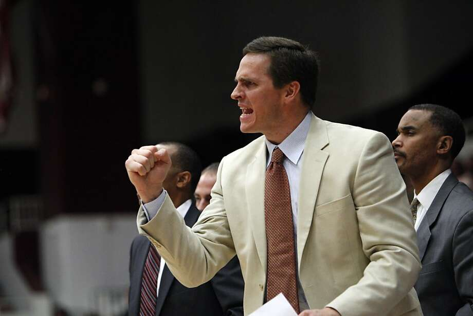 Assistant coach Mark Madsen reacts as a call goes in the Cardinal's favor in the second period. The Stanford men's basketball team played the Fullerton Titans at Maples Pavilion in Stanford, Calif., on Monday, November 12, 2012. Stanford won 81-68 Photo: Carlos Avila Gonzalez, The Chronicle