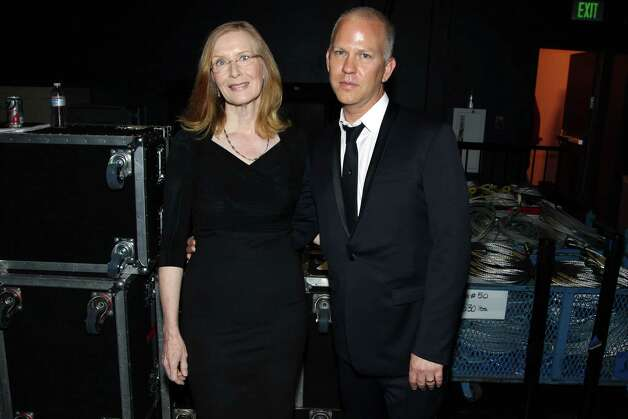 Frances Conroy, left, and Ryan Murphy pose backstage at the 2012 Creative Arts Emmys at the Nokia Theatre on Saturday, Sept. 15, 2012, in Los Angeles. (Photo by Matt Sayles/Invision/AP) Photo: Matt Sayles / Invision