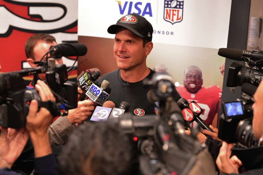 49ers coach Jim Harbaugh speaks to a group of Bay Area high school football coaches at the 49ers' headquarters during a Gameday Speech Clinic on November 12, 2012 in Santa Clara, Calif. (Steve Jennings / Getty Images for Visa) Photo: Steve Jennings, WireImage / © Steve Jennings/WireImage