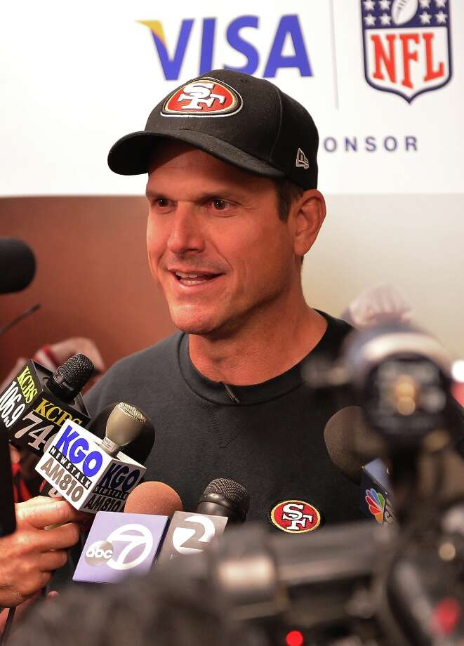 49ers coach Jim Harbaugh speaks to a group of Bay Area high school football coaches at the 49ers' headquarters during a Gameday Speech Clinic on November 12, 2012 in Santa Clara, Calif. Photo: Steve Jennings, Getty Images For Visa / © Steve Jennings/WireImage