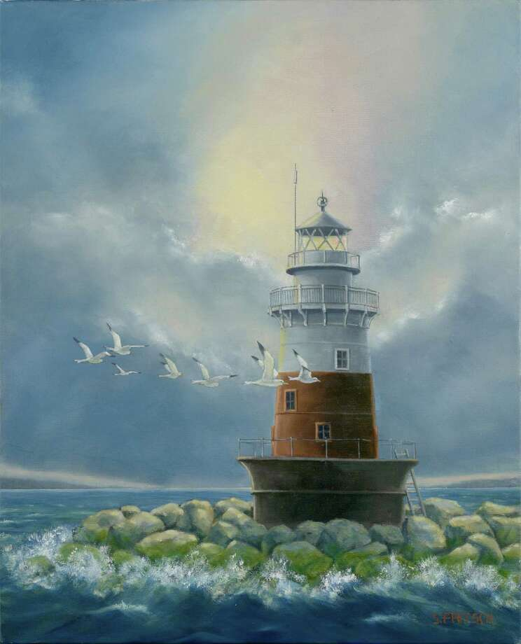 "Darien resident Steve Fritschís paintings of Fairfield County lighthouses, such as this one called ""Greens Ledge with Seagulls,"" are on display in Darien Libraryís art gallery. Photo: Contributed"