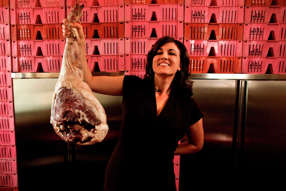 Here is a photo of Anya Fernald holding a cured ham, because why not. Photo: Michael Macor, The Chronicle / SFC