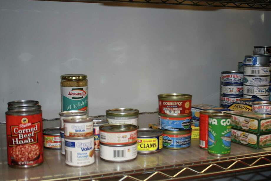 A shelf of canned goods at Person-To-Person in Darien. Nov. 12, 2012. Photo: Megan Davis