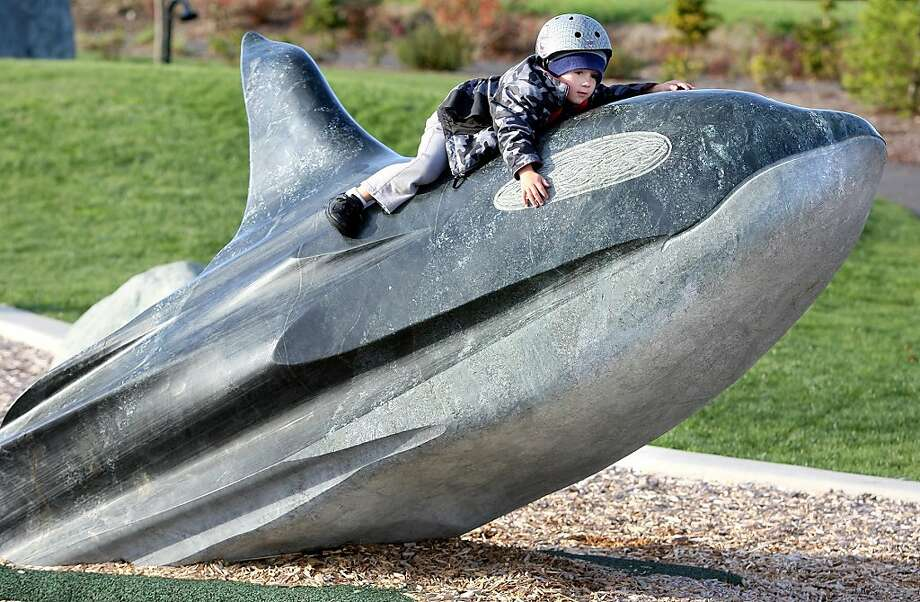 Can't take any chances with a KILLER whale: We bet Kayne Barnes' mother makes him wear the helmet at the Lions Park playground in Bremerton, Wash. Photo: Larry Steagall, Associated Press