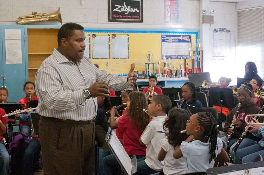 Lloyd Hughes directs the Parker Elementary School Band during rehearsals for an upcoming jazz festival in New Orleans.  Photo by R. Clayton McKee Photo: R. Clayton McKee, Freelance / Freelance
