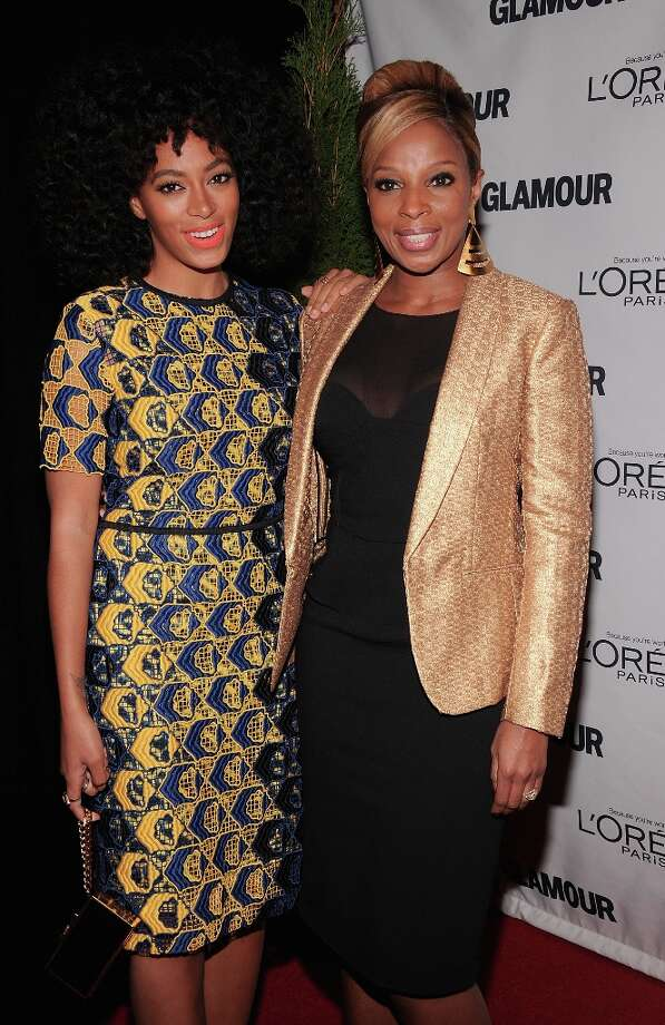 Solange Knowles and Mary J. Blidge attend the 22nd annual Glamour Women of the Year Awards at Carnegie Hall on November 12, 2012 in New York City.  (Photo by Jamie McCarthy/Getty Images) Photo: Jamie McCarthy, Getty Images / 2012 Getty Images