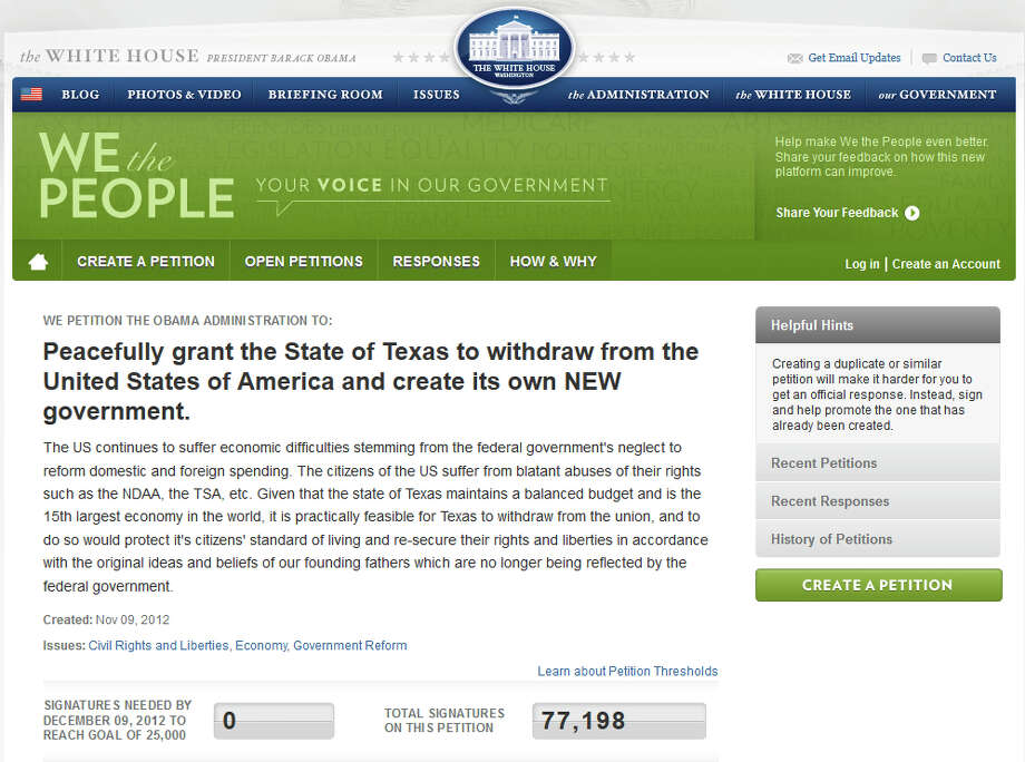 "2012: A petition proposing Texas secession posted to the ""We the People"" section of the White House website quickly passes the 25,000 signatures requirement for a White House response. Gov. Perry's office released a statement that he ""believes in the greatness of our Union and nothing should be done to change it."" Photo: File Photos"
