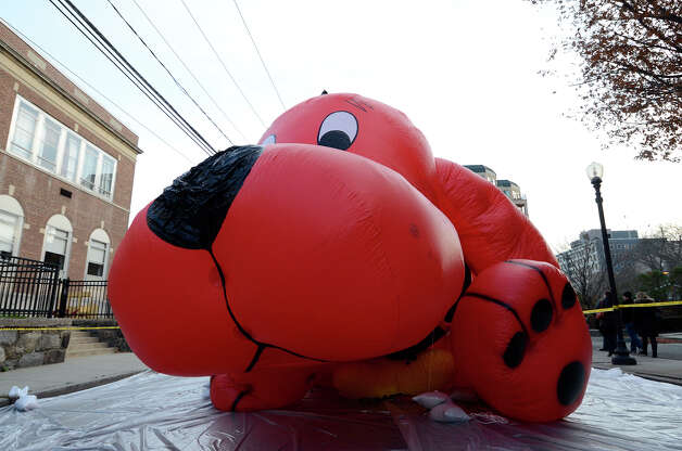 Balloons for the UBS Parade Spectacular are inflated along Hoyt and Summer streets  in Stamford, CT on Sat., Nov. 19, 2011. Photo: Shelley Cryan / Shelley Cryan freelance; Stamford Advocate freelance