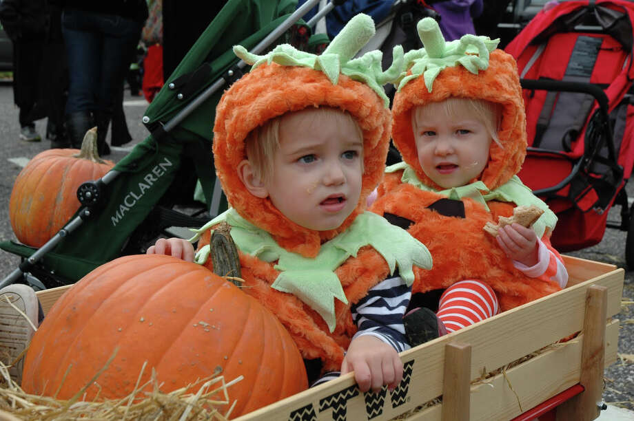 Hudson and Sophie Reed are picture perfect surrounded by their pumpkins as they participate in the 31st annual Halloween Parade, which took place on Sunday, Oct. 28, in downtown New Canaan. Photo: Contributed