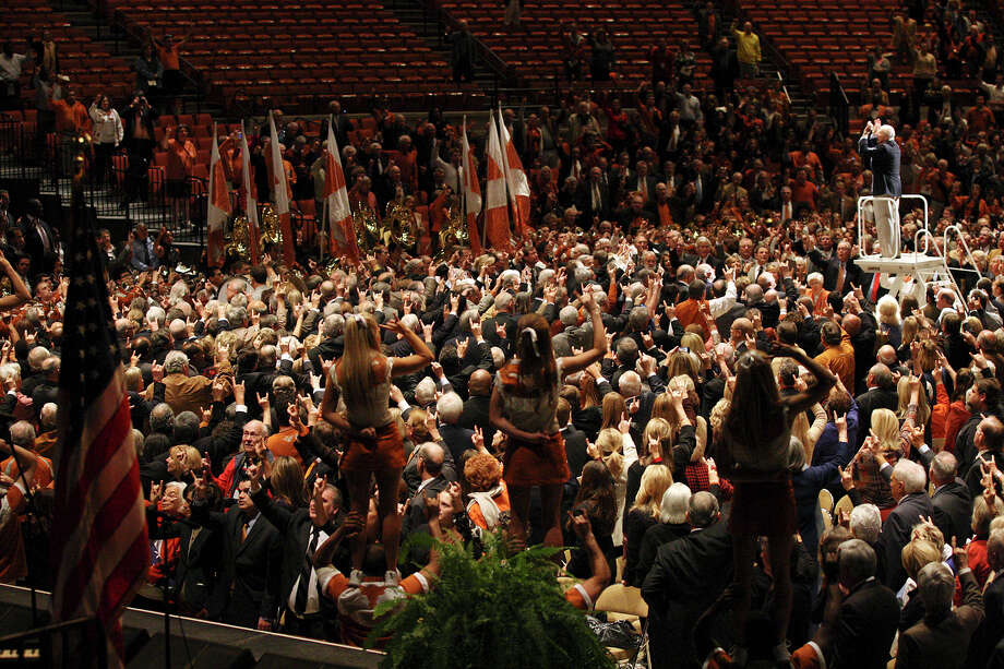 "The University of Texas Longhorn Band performs ""The Eyes of Texas,"" during the memorial for former University of Texas Football Coach Darrell K Royal at the Frank Erwin Center in Austin, Tuesday, Nov. 12, 2012. Photo: Jerry Lara, San Antonio Express-News / © 2012 San Antonio Express-News"