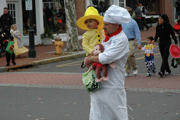 It was a family affair for this father-son duo at the 31st annual Halloween Parade, sponsored by the New Canaan Chamber of Commerce, on Sunday, Oct. 28. Photo: Contributed