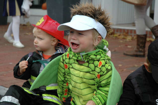 Is this dragon roaring or crying at the 31st annual Halloween Parade, sponsored by the New Canaan Chamber of Commerce, on Sunday, Oct. 28? Photo: Contributed