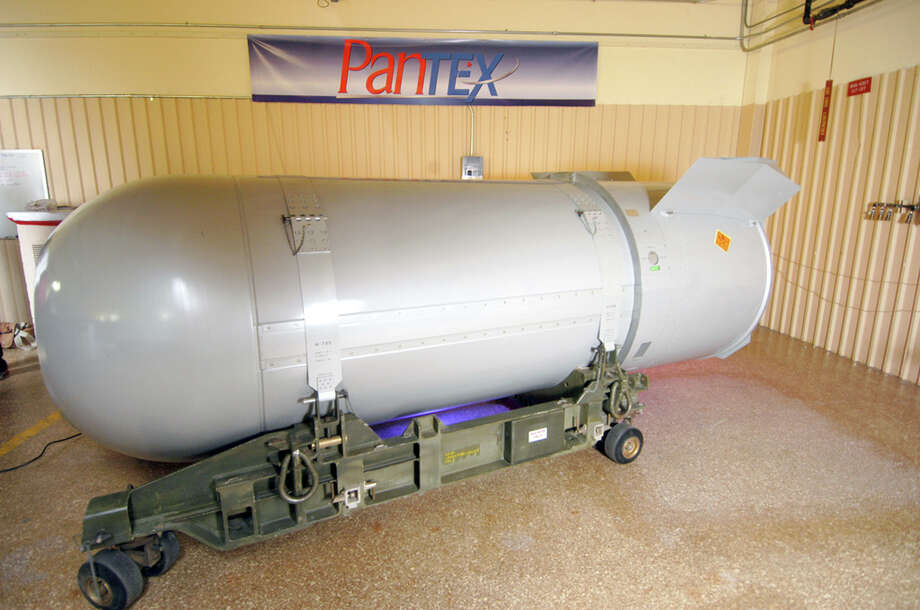 This 10,000-pound B-53 nuclear bomb was dismantled in 2011, but the U.S. currently has the 1.2 megaton B-83 in their arsenal. Click through to see what the B-83, the Hiroshima atom bomb and other nuclear weapons could do to the Corpus Christi area, which was nearly the site of nuclear weapons testing in 1945. Photo: Associated Press / National Nuclear Security Admini