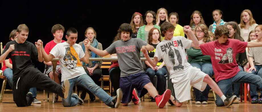 """Dancers rehearse for a scene in """"Fiddler on the Roof,"""" which will be presented this week at Joel Barlow High School in Redding. Photo: Contributed Photo"""