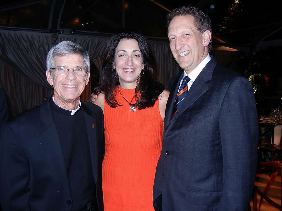Above: USF President the Rev. Stephen Privett (left), Pam Baer and her husband, Giants CEO Larry Baer. Right: Becca Prowda and her husband, Tipping Point founder Daniel Lurie. Photo: Catherine Bigelow, Special To The Chronicle