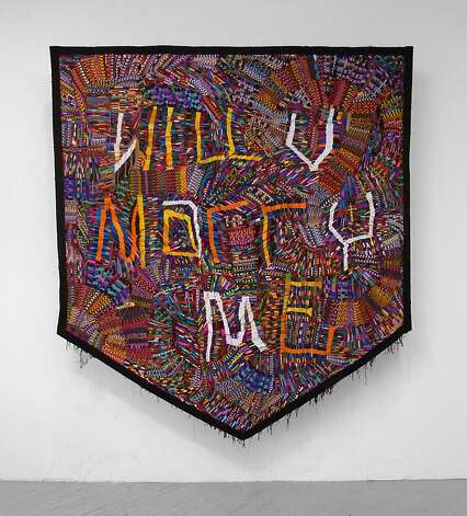 "Adam Parker Smith's ""Proposal"" (2012), hand-woven friendship bracelets, 96 by 102 inches, is on display at the Ever Gold Gallery. Photo: Ever Gold Gallery"
