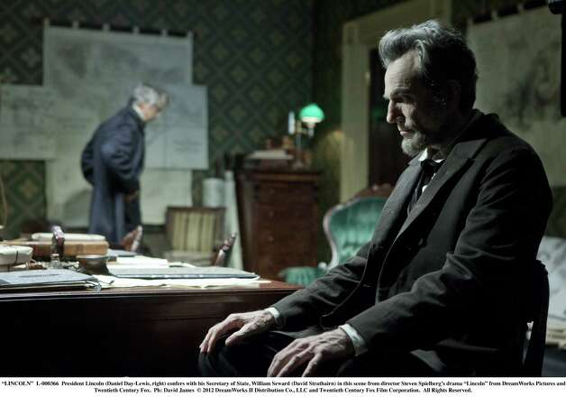 """LINCOLN""  L-000366  President Lincoln (Daniel Day-Lewis, right) confers with his Secretary of State, William Seward (David Strathairn) in this scene from director Steven Spielberg's drama ""Lincoln"" from DreamWorks Pictures and Twentieth Century Fox.  Ph: David James  © 2012 DreamWorks II Distribution Co., LLC and Twentieth Century Fox Film Corporation. ÊAll Rights Reserved. Photo: David James, Touchstone Pictures / ONLINE_YES"
