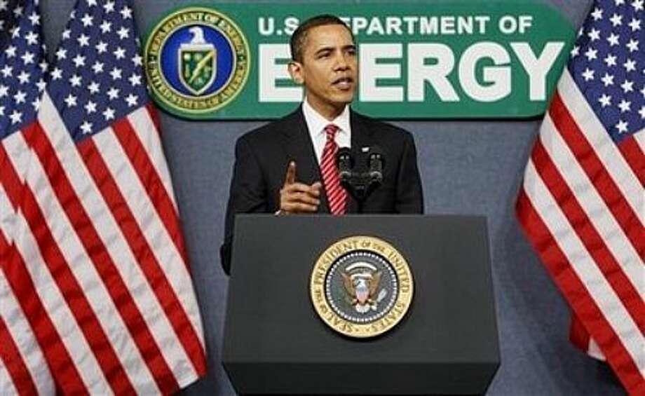 President Barack Obama speaks at the Energy Department in Washington, Thursday, Feb. 5, 2009. (AP Photo/Charles Dharapak) Photo: Charles Dharapak, AP / AP