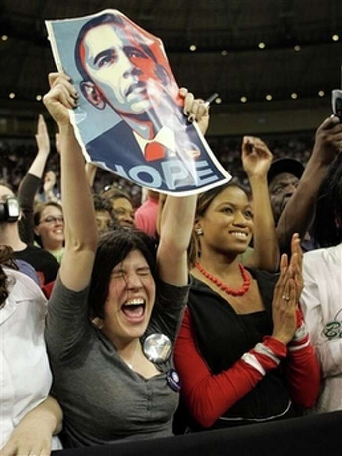 Supporters cheer for Democratic presidential hopeful, Sen. Barack Obama, D-Ill., as he addresses a rally Thursday, Feb. 28, 2008, in Ft. Worth, Texas. (AP Photo/Rick Bowmer) Photo: Rick Bowmer, AP / AP