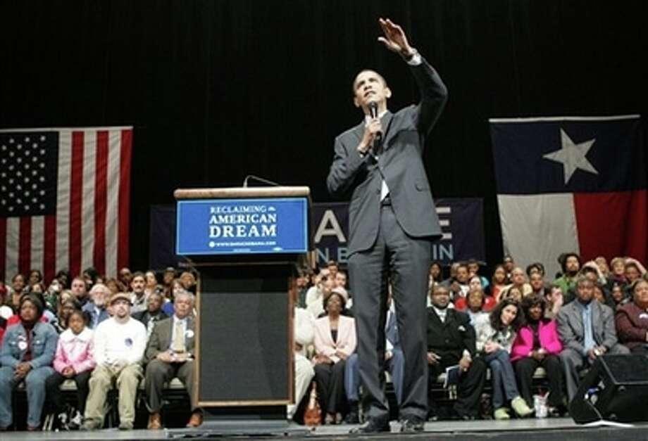 Democratic presidential hopeful Sen. Barack Obama, D-Ill., speaks during a campaign event Thursday, Feb. 28, 2008, in Beaumont, Texas. (AP Photo/Rick Bowmer) Photo: Rick Bowmer, AP / AP