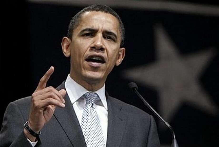 Democratic presidential hopeful Sen. Barack Obama, D-Ill., speaks at a campaign stop Thursday, Feb. 28, 2008, in Beaumont, Texas. (AP Photo/Rick Bowmer) Photo: Rick Bowmer, AP / AP