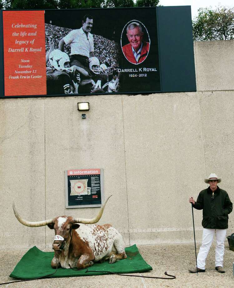 Texas mascot Bevo sits outside the Frank Erwin Center during a public memorial for the late Darrell K. Royal, Tuesday, Nov. 13, 2012, in Austin, Texas. Royal, the coach who led Texas to two national championships and revolutionized college football with the introduction of the wishbone in 1968, died Nov. 7 at age 88. (AP Photo/Statesman.com, Kelly West)  MAGS OUT; NO SALES; INTERNET AND TV MUST CREDIT PHOTOGRAPHER AND STATESMAN.COM Photo: Kelly West, Associated Press / Statesman.com
